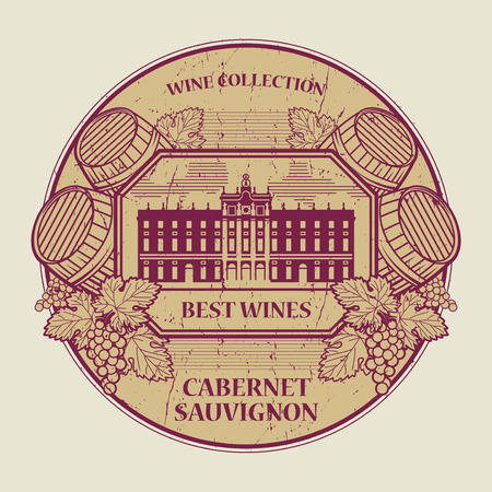 sauvignon: Red grunge rubber stamp or label with the text Best wines collection, Cabernet Sauvignon, written inside, vector illustration