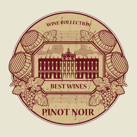 noir: Red grunge rubber stamp or label with the text Best wines collection, Pinot Noir, written inside, vector illustration Illustration