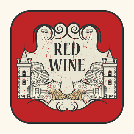 sauvignon: Tag or label with the text Red Wine, written inside, vector illustration