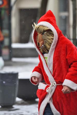 VILNIUS, LITHUANIA - DECEMBER 18: Runners on traditional Vilnius Christmas race on 18 December 2016 in Vilnius Lithuania.