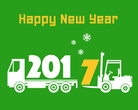 fork lift: Happy New Year greeting card - fork lift truck at work, vector illustration Illustration