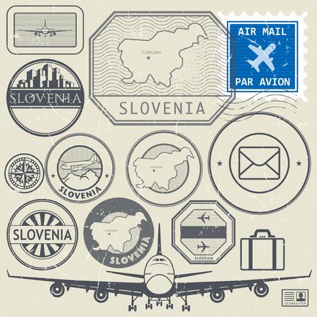 european alps: Slovenia travel or adventure theme stamps or labels set, vector illustration Illustration