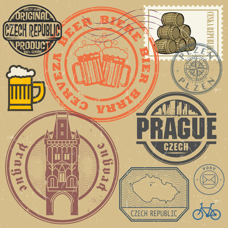 postal: Grunge rubber stamp and symbols set with text and map of Czech Republic, vector illustration