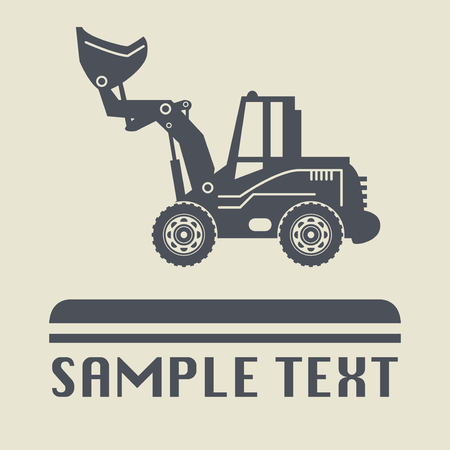 mounds: Excavator icon or sign, vector illustration