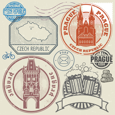Grunge rubber stamp and symbols set with text and map of Czech Republic, vector illustration