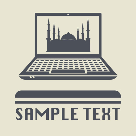 devotional: Laptop or notebook computer with Mosque icon or sign, vector illustration