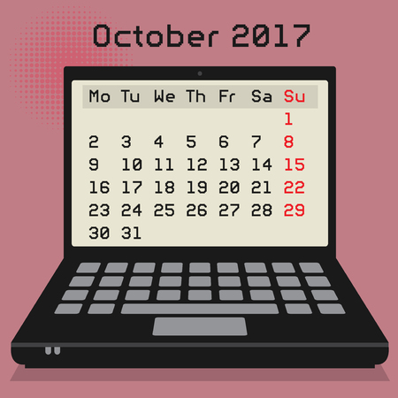 calendar october: Laptop or notebook computer, business concept with 2017 Calendar, October month, vector illustration