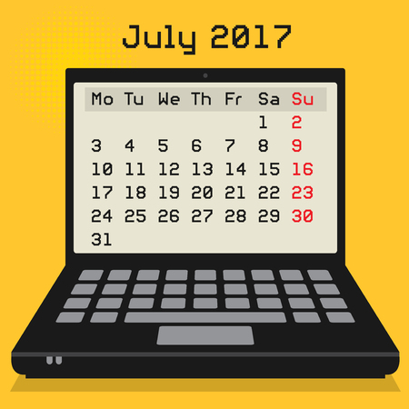 july calendar: Laptop or notebook computer, business concept with 2017 Calendar, July month, vector illustration