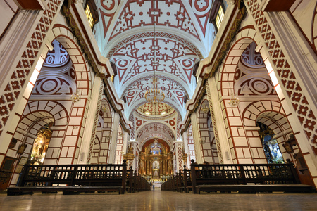 notable: LIMA, PERU - August 23, 2016: Interior of Saint Francis Monastery in Lima, Peru on August 23, 2016. The church and convent are part of the Historic Centre of Lima.