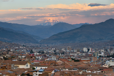 CUSCO, PERU - August 31, 2016: Panorama of Cusco at sunset, Peru, on August 31, 2016. In 1983 Cusco was declared a World Heritage Site by UNESCO. Editorial