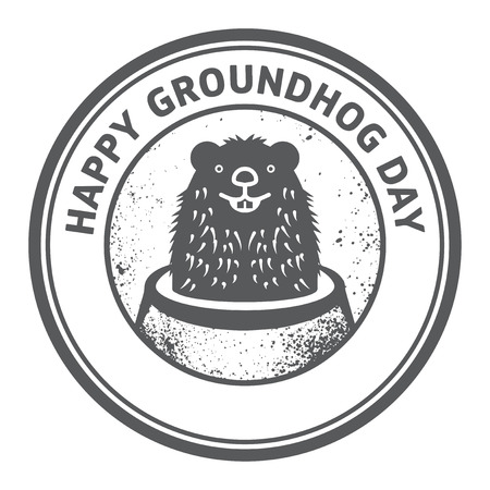 burrow: Grunge rubber stamp or sign with cute groundhog and text Happy Groundhog Day, vector illustration