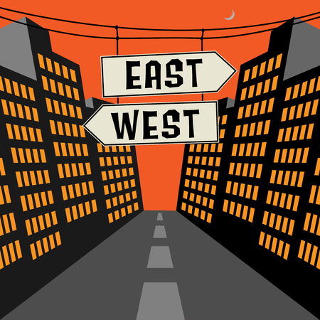 west: Road sign with opposite arrows and text East - West, vector illustration Illustration