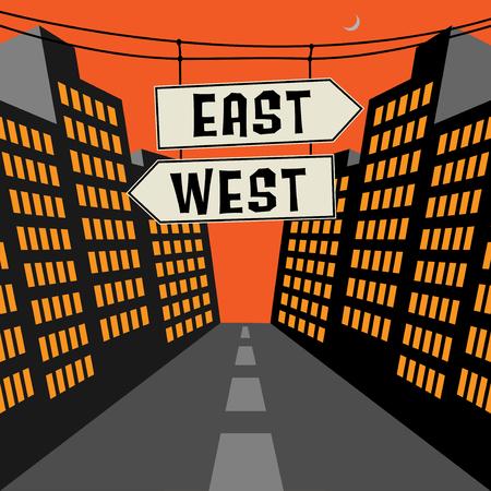 Wegbord met tegenovergestelde pijlen en tekst Oost-West, vectorillustratie
