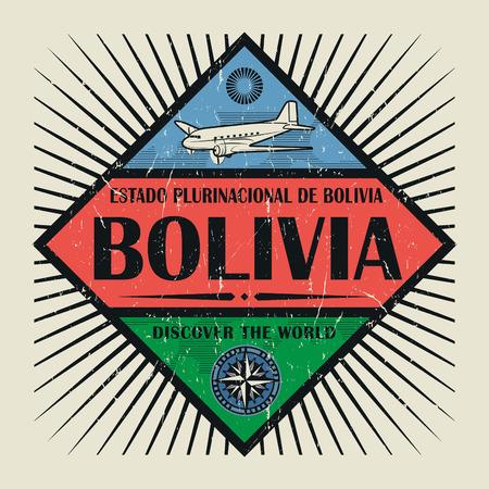 Sello o emblema de la vendimia con el avión, brújula y texto Bolivia, Descubre el mundo, ilustración vectorial
