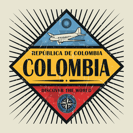 Stamp or vintage emblem with airplane, compass and text Colombia, Discover the World, vector illustration