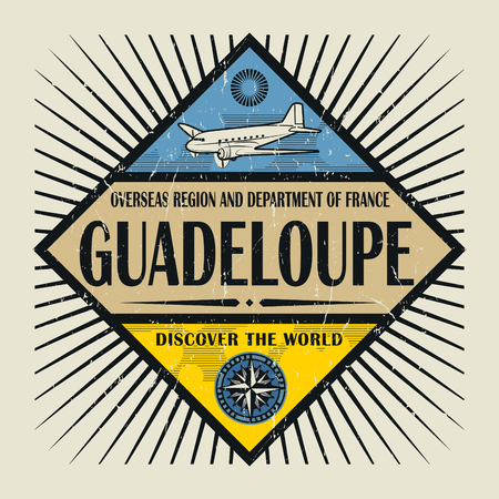 guadeloupe: Stamp or vintage emblem with airplane, compass and text Guadeloupe, Discover the World, vector illustration