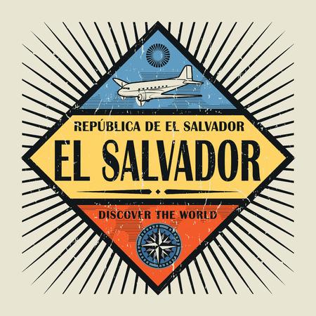 Sello o emblema de la vendimia con el avión, la brújula y el texto de El Salvador, Descubre el mundo, ilustración vectorial