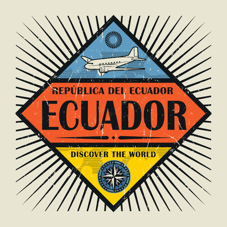 Stamp or vintage emblem with airplane, compass and text Ecuador, Discover the World, vector illustration