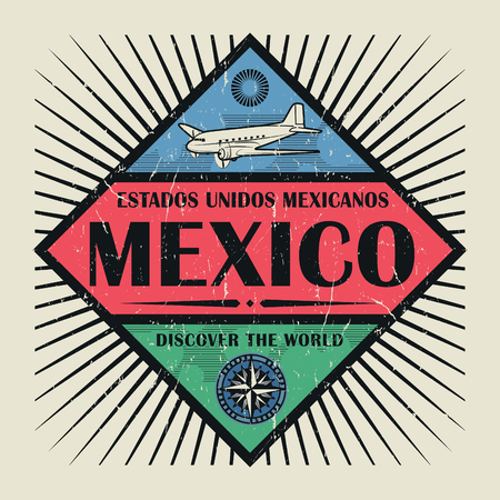 Stamp or vintage emblem with airplane, compass and text Mexico, Discover the World, vector illustration Illustration