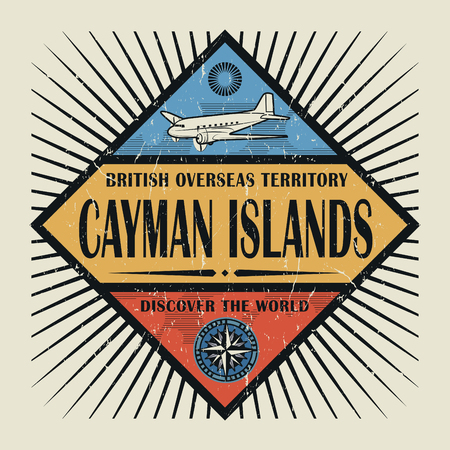 cayman: Stamp or vintage emblem with airplane, compass and text Cayman Islands, Discover the World, vector illustration