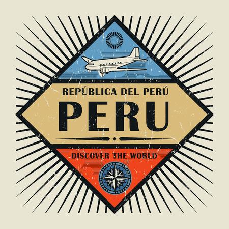 Sello o emblema de la cosecha con avión, la brújula y el texto Perú, Descubra el mundo, ilustración vectorial