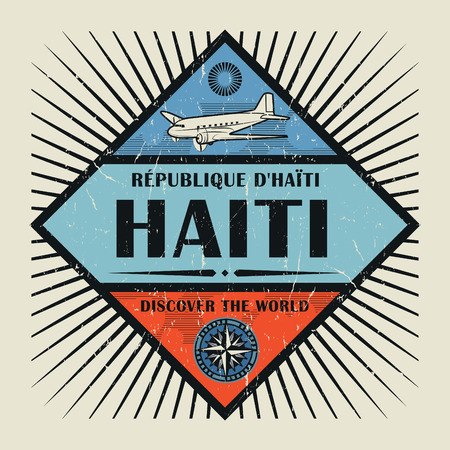 Stamp or vintage emblem with airplane, compass and text Haiti, Discover the World, vector illustration