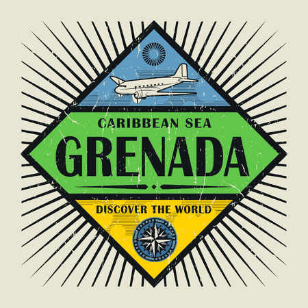 grenada: Stamp or vintage emblem with airplane, compass and text Grenada, Discover the World, vector illustration