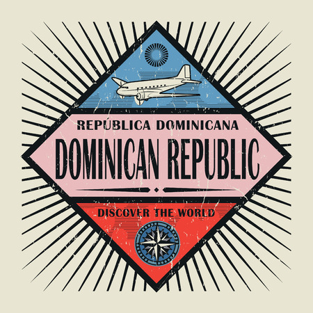 Stamp or vintage emblem with airplane, compass and text Dominican Republic, Discover the World, vector illustration