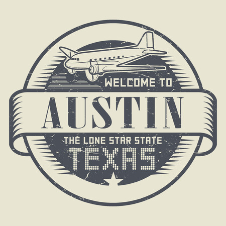 austin: Grunge rubber stamp or tag with airplane and text Welcome to Texas, Austin, vector illustration