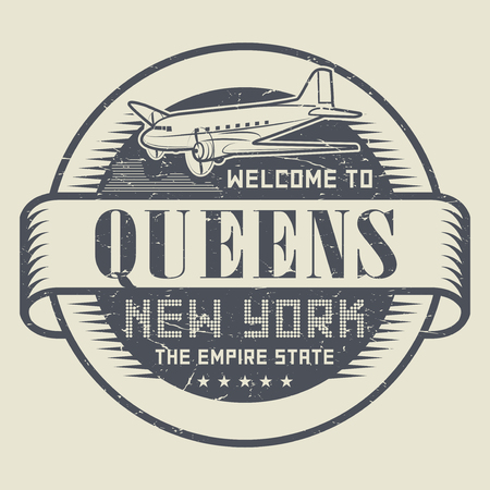 ny: Grunge rubber stamp or tag with text Welcome to Queens, New York, vector illustration Illustration