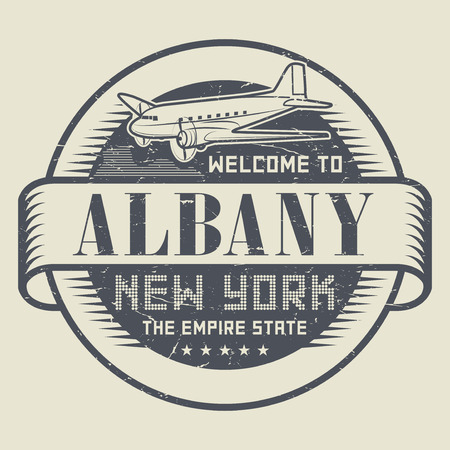 old new york: Grunge rubber stamp or tag with text Welcome to Albany, New York, vector illustration