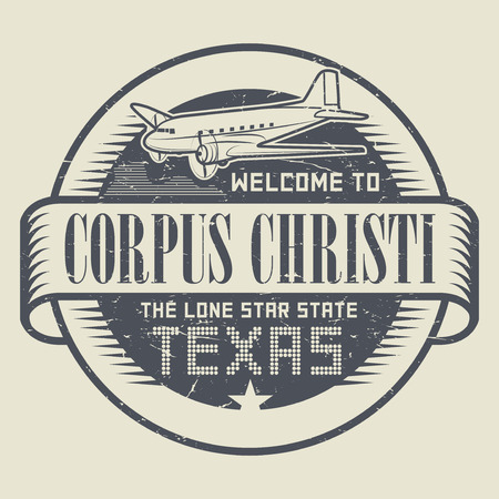 corpus: Grunge rubber stamp or tag with airplane and text Welcome to Texas, Corpus Christi, vector illustration Illustration