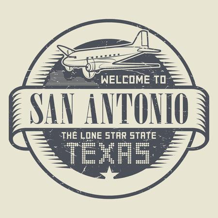 Grunge rubberzegel of markering met vliegtuig en tekst Onthaal aan Texas, San Antonio, vectorillustratie Stock Illustratie