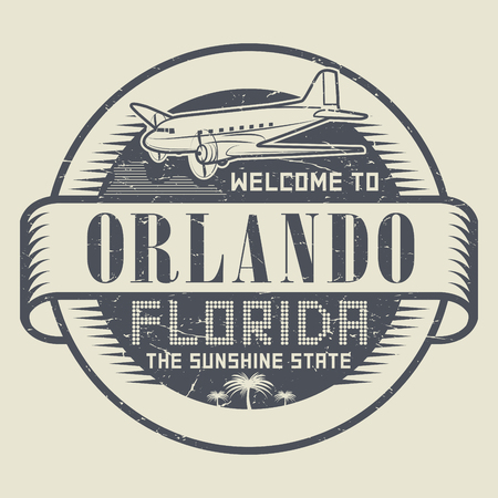 Grunge rubber stamp or tag with text Welcome to Orlando, Florida, vector illustration Çizim