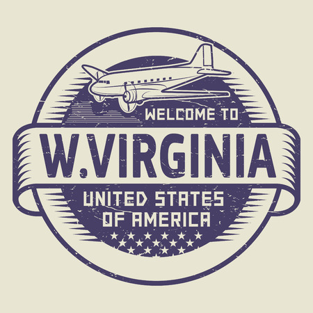 airplane: Grunge rubber stamp or tag with airplane and text Welcome to West Virginia, United States of America, vector illustration