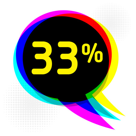 Speech Bubble in Pop-Art Style, business concept with text thirty-three percent Discount, vector illustration