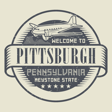 keystone: Grunge rubber stamp or tag with text Welcome to Pittsburgh, Pennsylvania, vector illustration