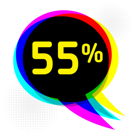 Speech Bubble in Pop-Art Style, business concept with text fifty-five percent Discount, vector illustration