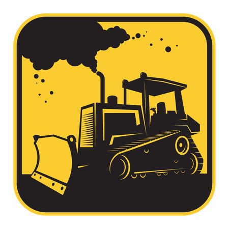 earthmover: Bulldozer or tractor danger sign or symbol, vector illustration