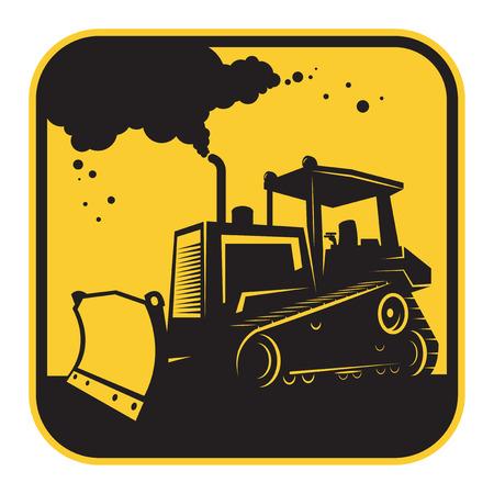 dredger: Bulldozer or tractor danger sign or symbol, vector illustration