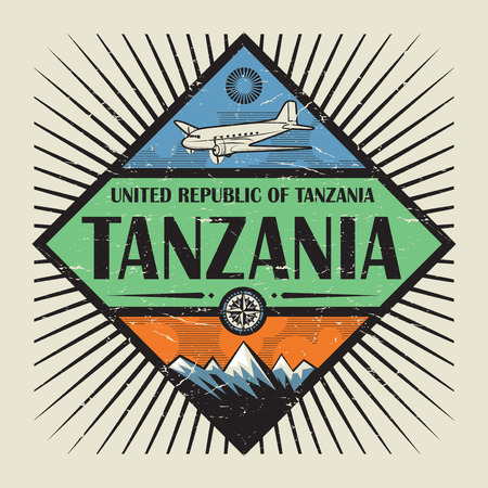 tanzania: Stamp or vintage emblem with airplane, compass, mountains and text Tanzania, vector illustration