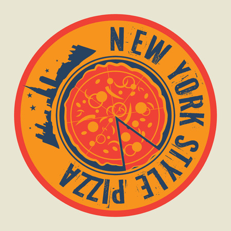 Vintage Pizza stamp or tag with text New York Style Pizza, vector illustration