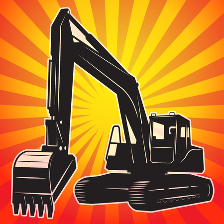 industrial vehicle: Excavator abstract emblem, vector illustration