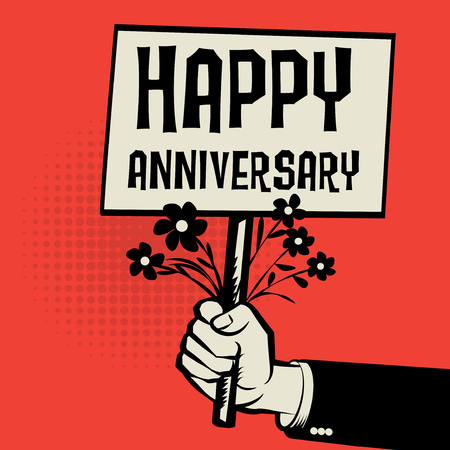 Poster in hand, business concept with text Happy Anniversary, vector illustration