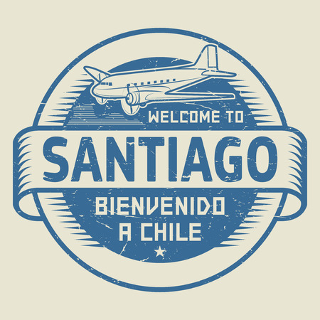 bienvenido: Grunge rubber stamp or tag with airplane and text Welcome to Santiago, Chile (in Spanish language too), vector illustration Illustration