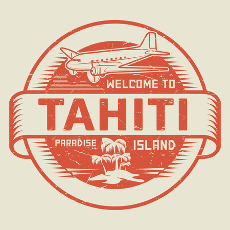 paradise beach: Stamp or label with the text Welcome to Tahiti, Paradise island, vector illustration