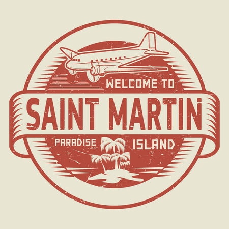 martin: Stamp or label with the text Welcome to Saint Martin, Paradise island, vector illustration. Illustration