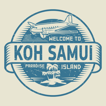 samui: Stamp or label with the text Welcome to Koh Samui, Paradise island, vector illustration. Illustration
