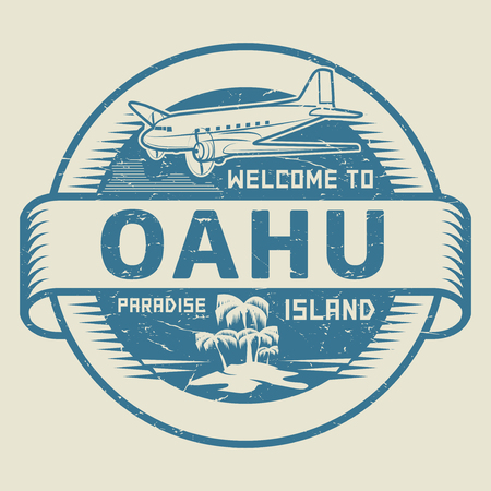 oahu: Stamp or label with the text Welcome to Oahu, Paradise island, vector illustration.