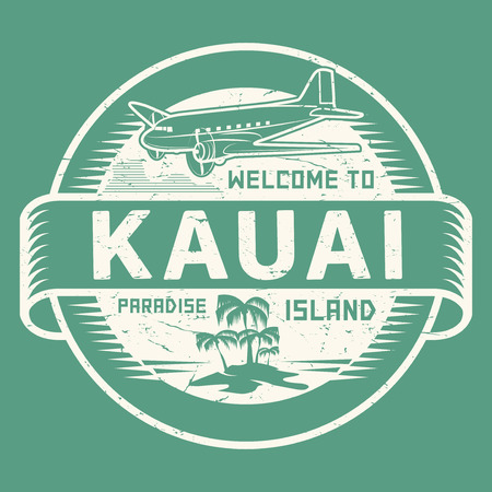 Stamp or label with the text Welcome to Kauai, Paradise island, vector illustration.